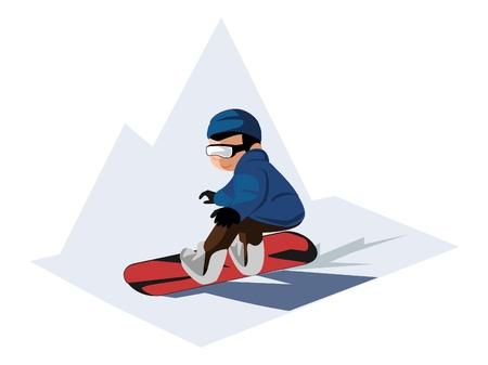 snowboarding boy Vector