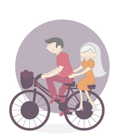couple bicycle Vector