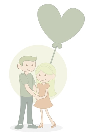 couple with baloon Vector