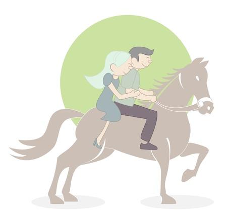 couple tiding horse Vector