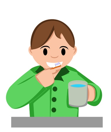 boy brush teeth Vector