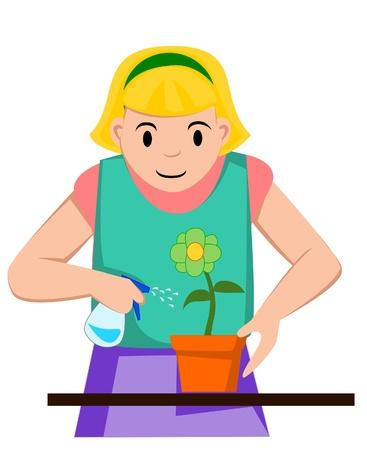 sprinkler: girl watering flower Illustration