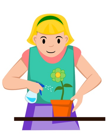 girl watering flower Vector