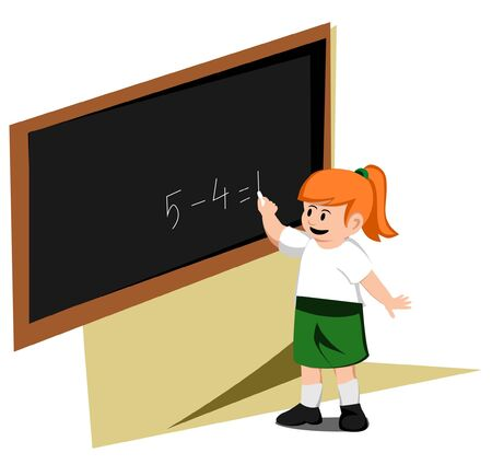 girl write board Vector