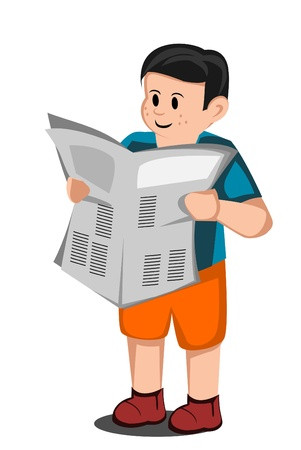 boy read a newspaper Stock Vector - 14968148