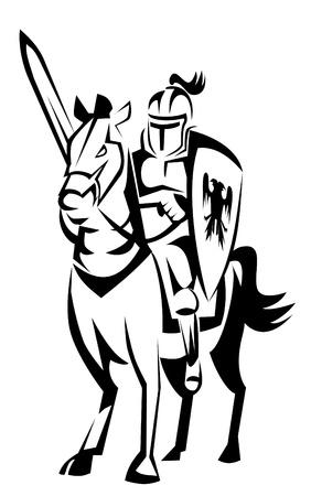 ナイト: 騎士ライダーの馬  イラスト・ベクター素材