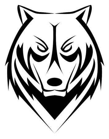black and white wolf: wolf Illustration