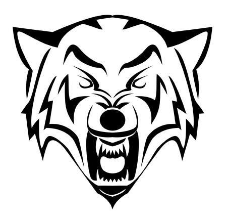 lobo feroz: lobo cara Vectores