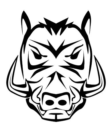 Wildschwein: Wildschwein-Maskottchen Illustration