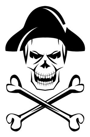 mortal danger: pirate skull bone Illustration