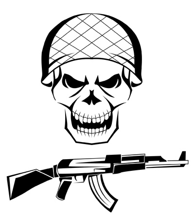 army skull weapon Stock Vector - 15041651