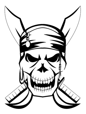 jolly roger pirate flag: pirate skull sword