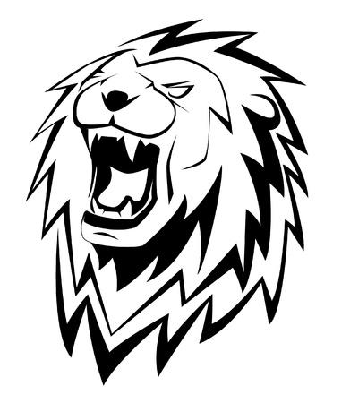 tatouage visage: Le lion rugit- Illustration