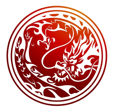 tribal dragon: red dragon Illustration