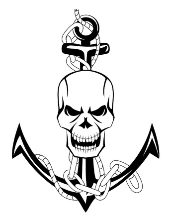 ancla: cráneo ancla Vectores
