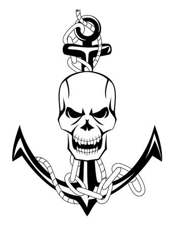 skull tattoo: schedel anker