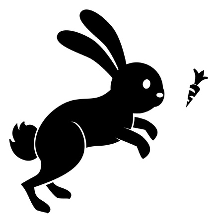 rabbit jump carrot Vector