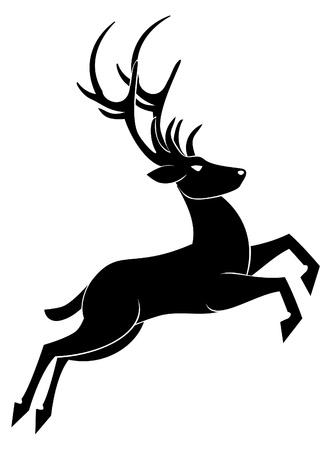 reindeer: cervo salto Vettoriali