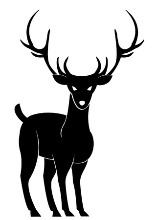 black and white line drawing: deer front