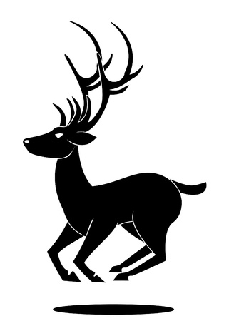 deer jumping symbol Vector