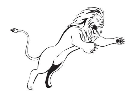 lion silhouette: lion attack Illustration