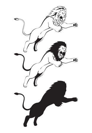 lion attack Illustration