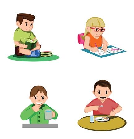 hygi�ne alimentaire: Apprendre Collection Kid Illustration