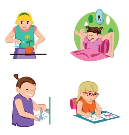 ébredés: Lány Kids Activity Illusztráció