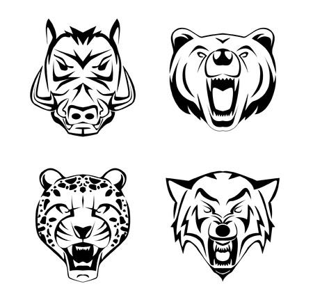 wild  boar: Animal Head set tattoo Illustration