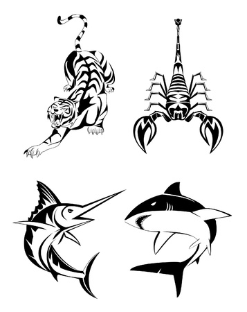 Animal Tatoo set Vector