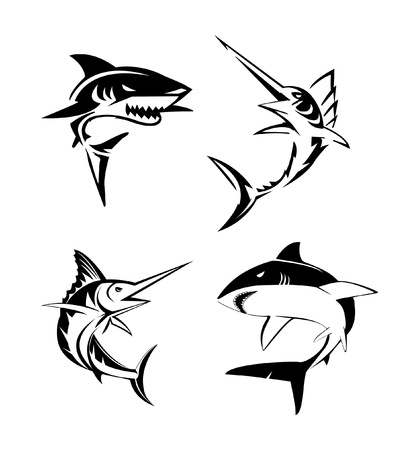 Big Fish Set Collection Vector