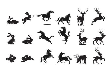 black deer: Animal Set Illustration