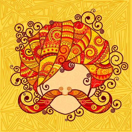 bigote: diseño de Rajastán hombre con turbante y el bigote en el estilo del arte indio Vectores