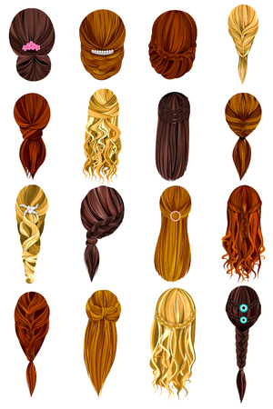 haircare: design of beautiful collection of female hairdo Illustration
