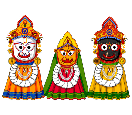 radha: design of Lord Jagannath, Subhadra and Balabhadra