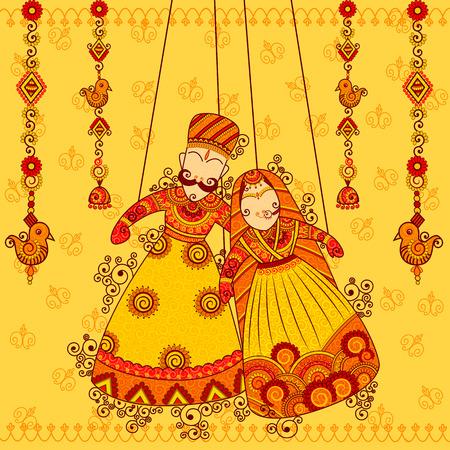 Diseño de colorido Rajastán Títeres en el estilo de arte indio Foto de archivo - 57157526
