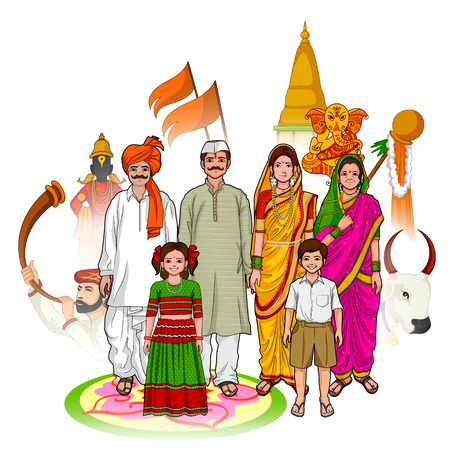 parent and child: Vector design of Maharashtrian family showing culture of Maharashtra, India