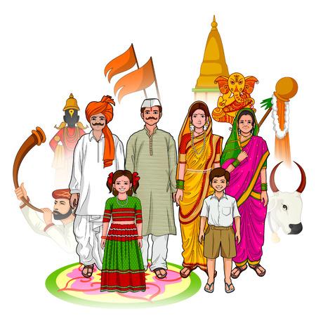 parent and child: Vector design of Maharashtrian family showing culture of Maharashtra, India