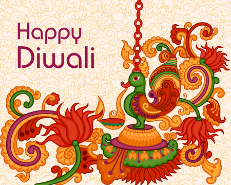 festival occasions: Vector design ofDiwali decorated diya in Indian art style Stock Photo