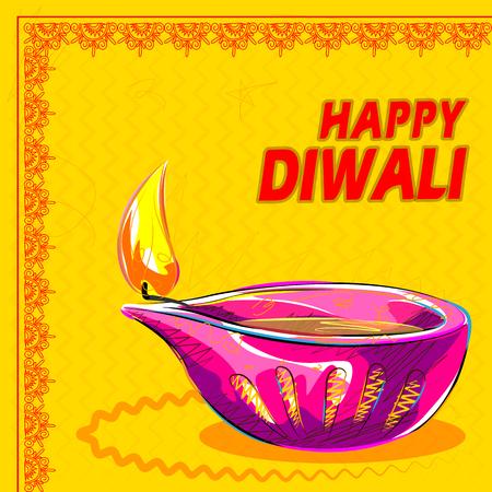 diya: Vector design of colorful painted diya for Happy Diwali decoration Illustration