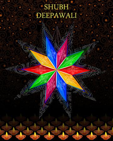 deepawali: Vector design of decorated hanging lamp for Diwali celebration wishing Shubh Deepawali( Happy Diwali) Illustration