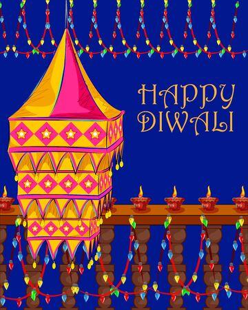 hanging lamp: Vector design of decorated hanging lamp for Diwali celebration
