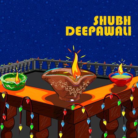 auspicious occasions: Vector design of house decorated with diya for Diwali wishing Shubh Deepawali Happy Diwali