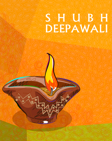 deepawali: Vector design of colorful painted diya for Happy Diwali decoration wishing Shubh Deepawali Happy Diwali Illustration