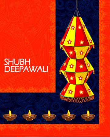 deepawali: Vector design of decorated hanging lamp for Diwali celebration wishing Shubh Deepawali Happy Diwali