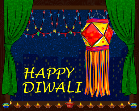festive occasions: Vector design of decorated hanging lamp for Diwali celebration