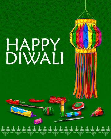 Vector design of decorated hanging lamp for Diwali celebration