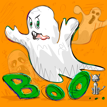 boo: Vector design of Halloween greeting background with flying boo ghost