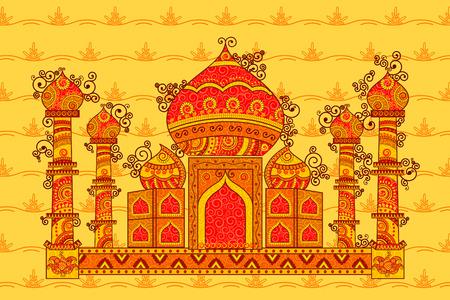 Vector ontwerp van de Taj Mahal in de Indiase kunststijl