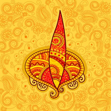 festival of lights: Vector design of floral Diwali diya in Indian art style